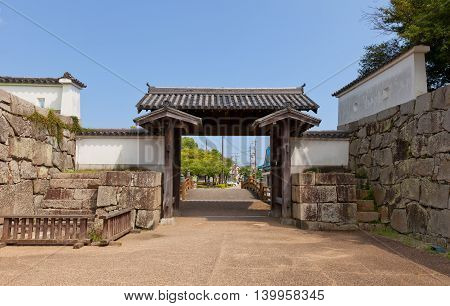 AKO JAPAN - JULY 18 2016: Otemon Gate (reconstructed in 1955) of Ako Castle (circa 17th c.). Castle was a seat of Lord Asano Naganao