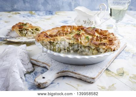 Pastilla with Fish and Green Asparagus