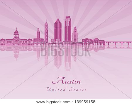 Austin skyline in purple radiant orchid in editable vector file