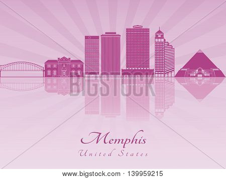 Memphis skyline in purple radiant orchid in editable vector file