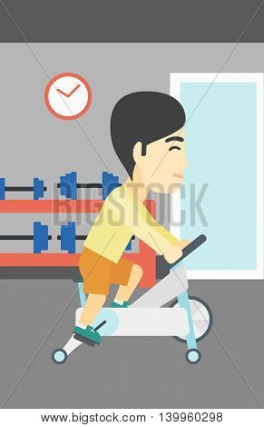 An asian young man riding stationary bicycle. Sporty man exercising on stationary training bicycle in the gym. Man training on exercise bike. Vector flat design illustration. Vertical layout.
