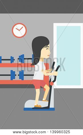 An asian young woman exercising on elliptical trainer. Woman working out using elliptical trainer at the gym. Woman using elliptical trainer. Vector flat design illustration. Vertical layout.