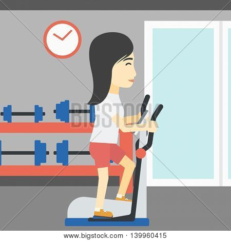 An asian young woman exercising on elliptical trainer. Woman working out using elliptical trainer at the gym. Woman using elliptical trainer. Vector flat design illustration. Square layout.