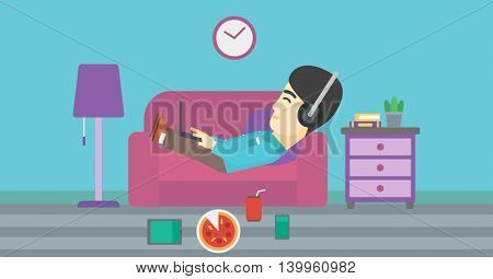 An asian man with belly relaxing on a sofa with many gadgets. Man lying on a sofa surrounded by gadgets. Man using gadgets at home. Vector flat design illustration. Horizontal layout