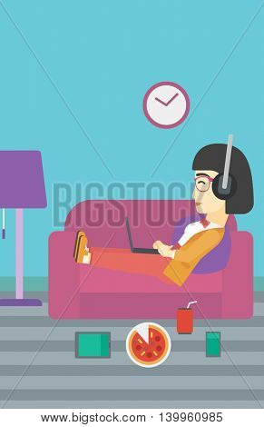 An asian woman relaxing on a sofa with many gadgets. Woman lying on sofa surrounded by gadgets and fast food. Woman using gadgets at home. Vector flat design illustration. Vertical layout.