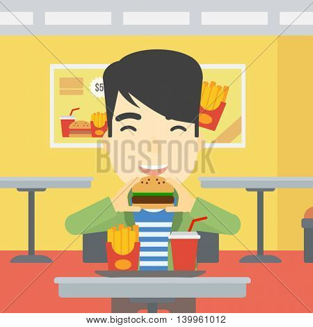 An asian young man eating hamburger. Happy man with eyes closed biting hamburger. Man is about to eat delicious hamburger in the cafe. Vector flat design illustration. Square layout.