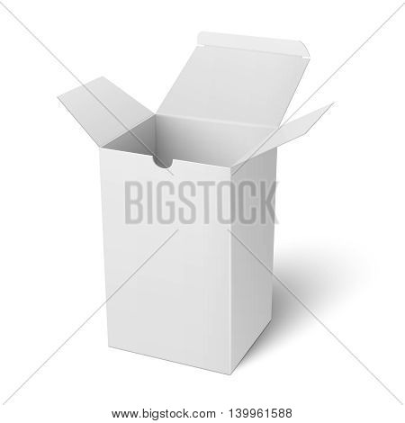Blank open vertical paper or cardboard box template standing on white background Packaging collection. Vector illustration.