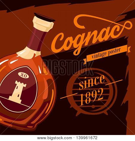 Glassware bottle of cognac or armagnac vintage or retro, old style poster with fortification tower on sticker. Alcohol beverage or booze advertising. Can be used for bar or restaurant theme