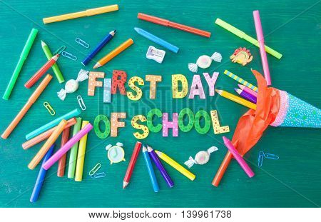 Green background for the first day of school