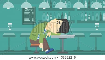 An asian drunk man deeply sleeping near the bottle of wine and glass on table. Drunk man sleeping in bar. Alcohol addiction concept. Vector flat design illustration. Horizontal layout.