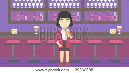 An asian joyful woman with an orange cocktail. Woman drinking an orange cocktail at bar. Woman celebrating at bar with an orange cocktail. Vector flat design illustration. Horizontal layout.