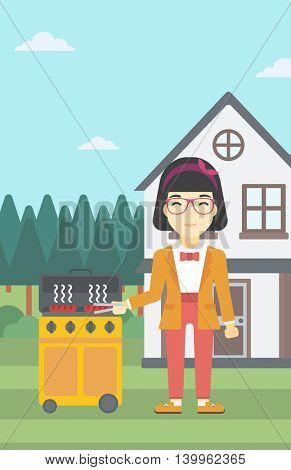 An asian woman cooking meat on gas barbecue grill in the backyard. Woman preparing food on barbecue grill. Woman having outdoor barbecue. Vector flat design illustration. Vertical layout.