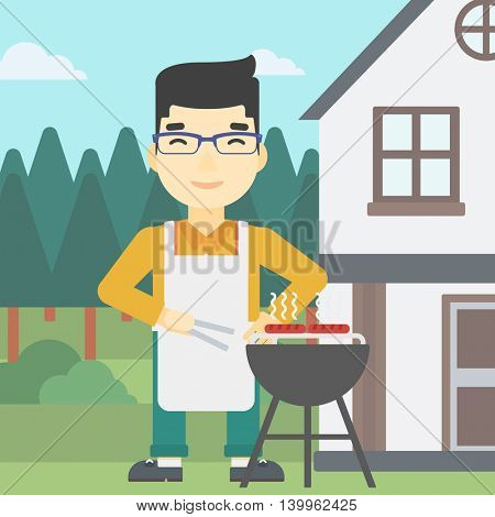 An asian man cooking meat on the barbecue grill in the backyard. Man preparing food on the barbecue grill. Man having outdoor barbecue. Vector flat design illustration. Square layout.