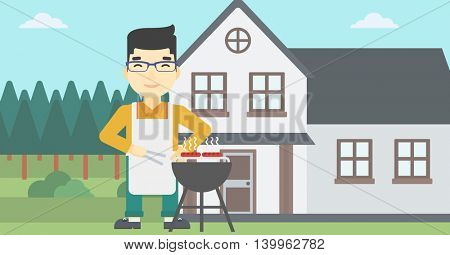An asian man cooking meat on the barbecue grill in the backyard. Man preparing food on the barbecue grill. Man having outdoor barbecue. Vector flat design illustration. Horizontal layout.