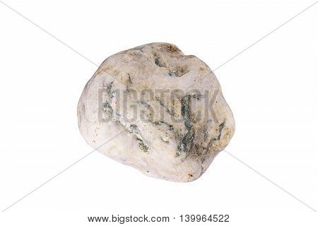 White yellowish chert rock on absolute white background