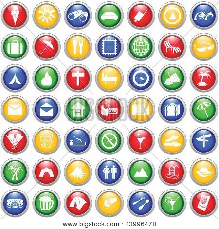 poster of Travel set of different web icons