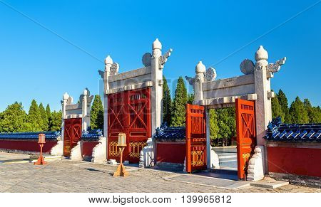 Gates at the Temple of Heaven in Beijing, China
