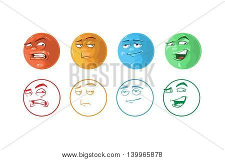 vector icon set of Feedback emoticons. Coloring and linear style. Pictures isolate on white background