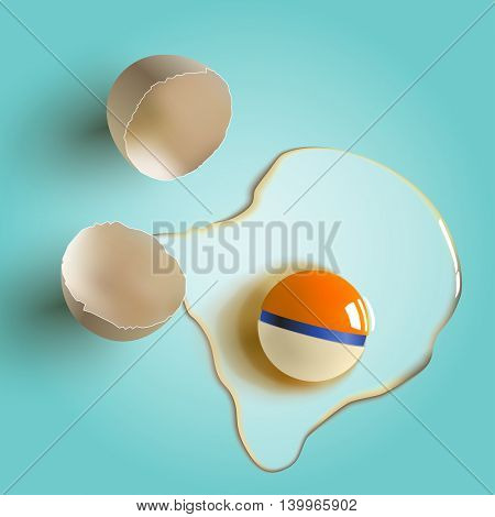 cracked raw egg with crazy color yolk. Surreal vector illustration