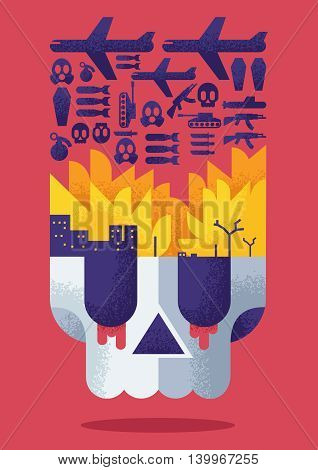 Concept flat design illustration for war conflict.