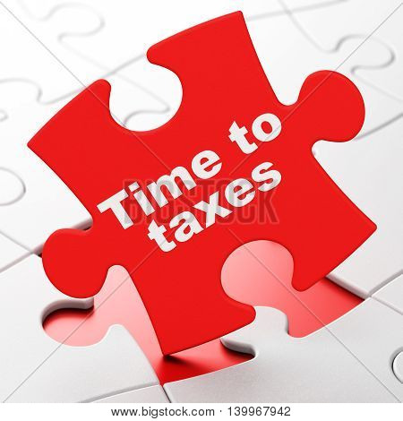 Timeline concept: Time To Taxes on Red puzzle pieces background, 3D rendering