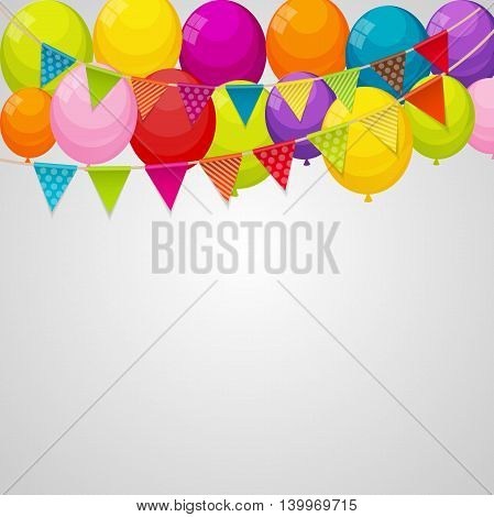 Color Glossy Happy Birthday Balloons Banner Background with Party Flag Garland Vector Illustration EPS10