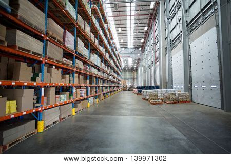 View of goods are tidy on shelves in a warehouse