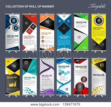 Roll Up Banner template Collection stand display template vector