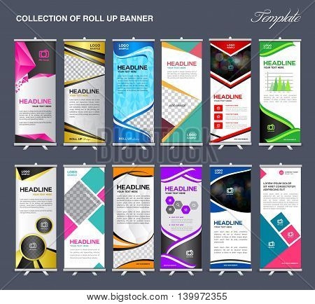 Roll Up Banner template Collection stand template vector