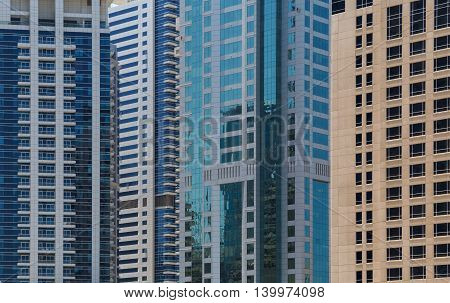 close up of several towers in Dubai