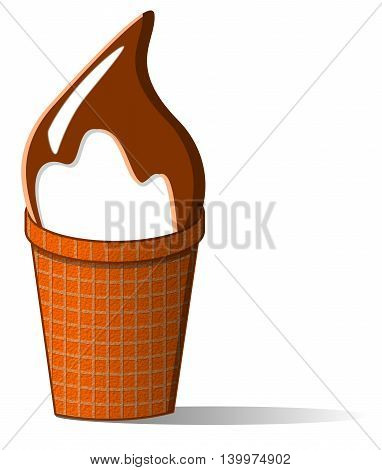 An illustration of a chocolate covered ice cream cone on a white background