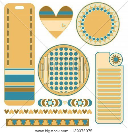 Modern graphics set with colorful tags labels heart and trims