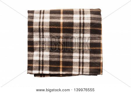 Brown fleece plaid folded on white background