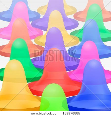 Open latex condom over white background. Realistic 3d illustration. Condom without pack. Rolled-up condom icon or sign isolated. Contraceptive method
