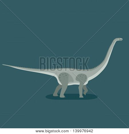 Titanosaurus icon. Gigantic lizard. Prehistoric herbivore dinosaur. Extinct animal. Trendy flat vector illustration.