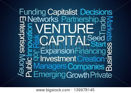 Venture Capital Word Cloud on Blue Background