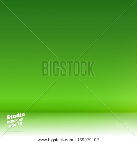 Vector,empty White Floor Gradient To Vivid Lime Green Studio Room Background ,template Mock Up For D