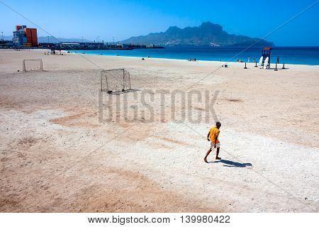 MINDELO CAPE VERDE - DECEMBER 11, 2015: Beach lifesaver at beautiful empty beach of Praia da Laginha bright sand and football field