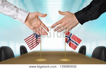 United States and Norway diplomats shaking hands to agree deal, part 3D rendering