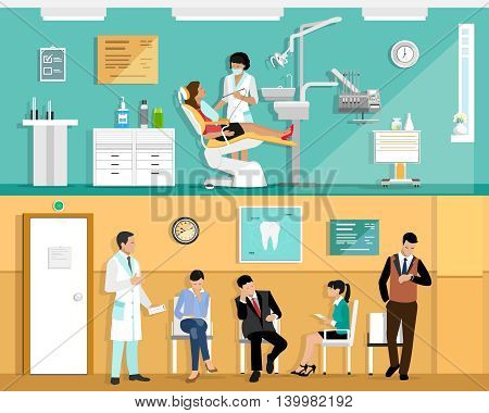 Set of flat colorful vector dentist office interior design with dental chair, dentist, patient and dental tools. Patient waiting room in the dental clinic.