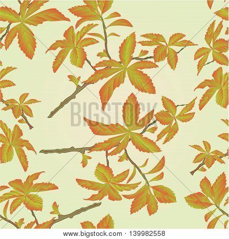 Seamless texture twig decorative shrub colorful leaves vector illustration