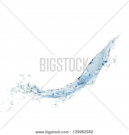 Isolated blue water splash on a white background.3D rendering