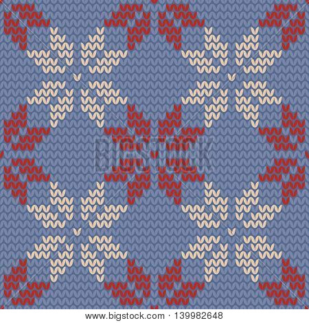 Tile blue, red and pastel floral knitting vector pattern or winter background