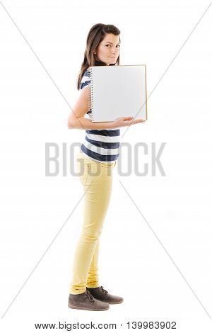 Standing woman holding a writable card - isolated on white