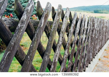 Closeup of a traditional wooden fence in Germany