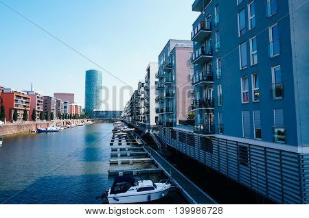 Private homes and office building at Westhafen in Frankfurt Germany