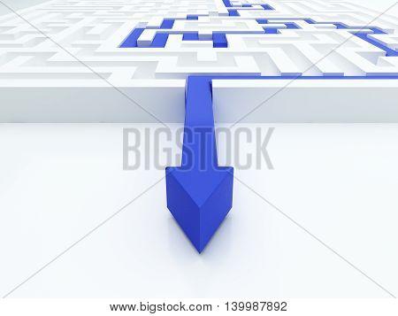 Blue arrow in a maze. 3d illustration.