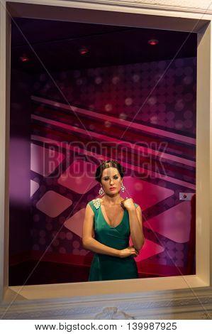 Los Angeles CA USA - July 6 2013: Madame Tussaud's Hollywood figures - Salma Hayek.
