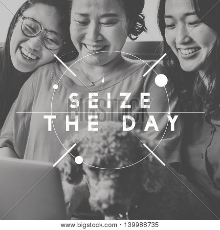 Seize the Day Bucket List Share Moments Enjoyment Concept