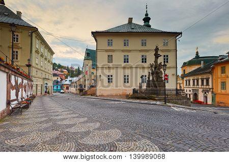 BANSKA STIAVNICA, SLOVAKIA - JUNE 25, 2016: Street in the old town of Banska Stiavnica on June 25, 2016